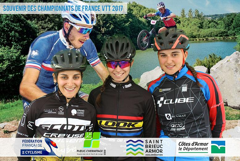 Animation fond vert borne photo événement sportif championnat France VTT