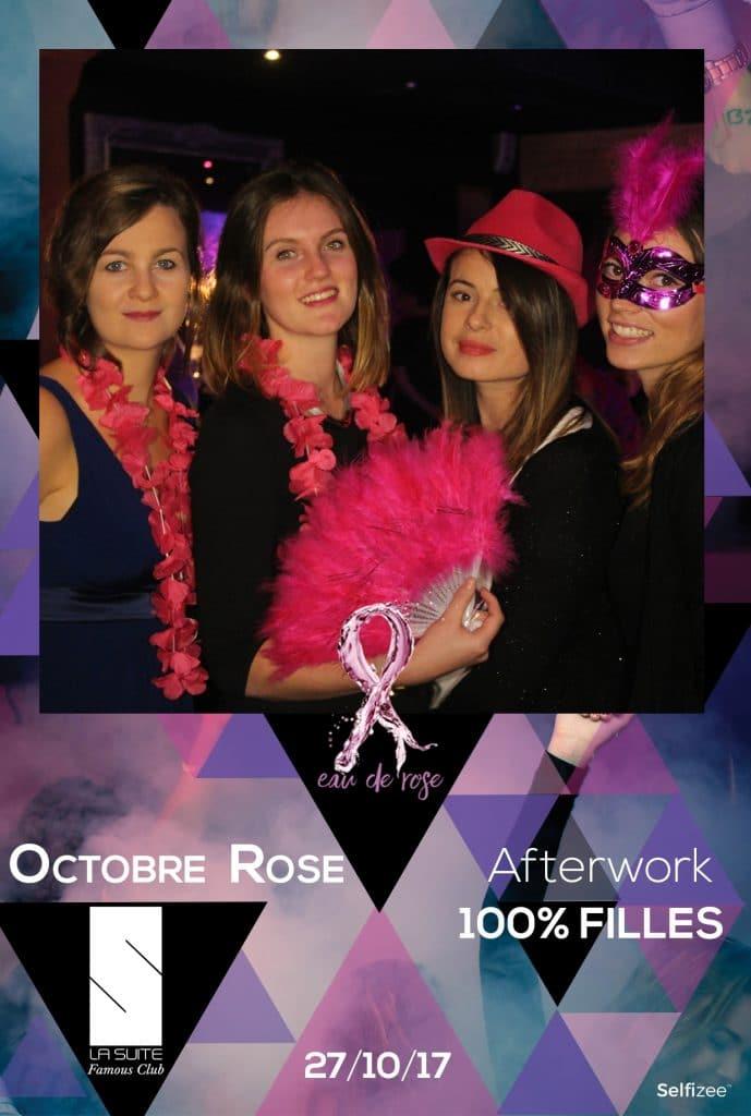 Photo polaroid avec la borne photo selfie Selfizee pour Octobre Rose avec la boîte de nuit La Suite à Rennes
