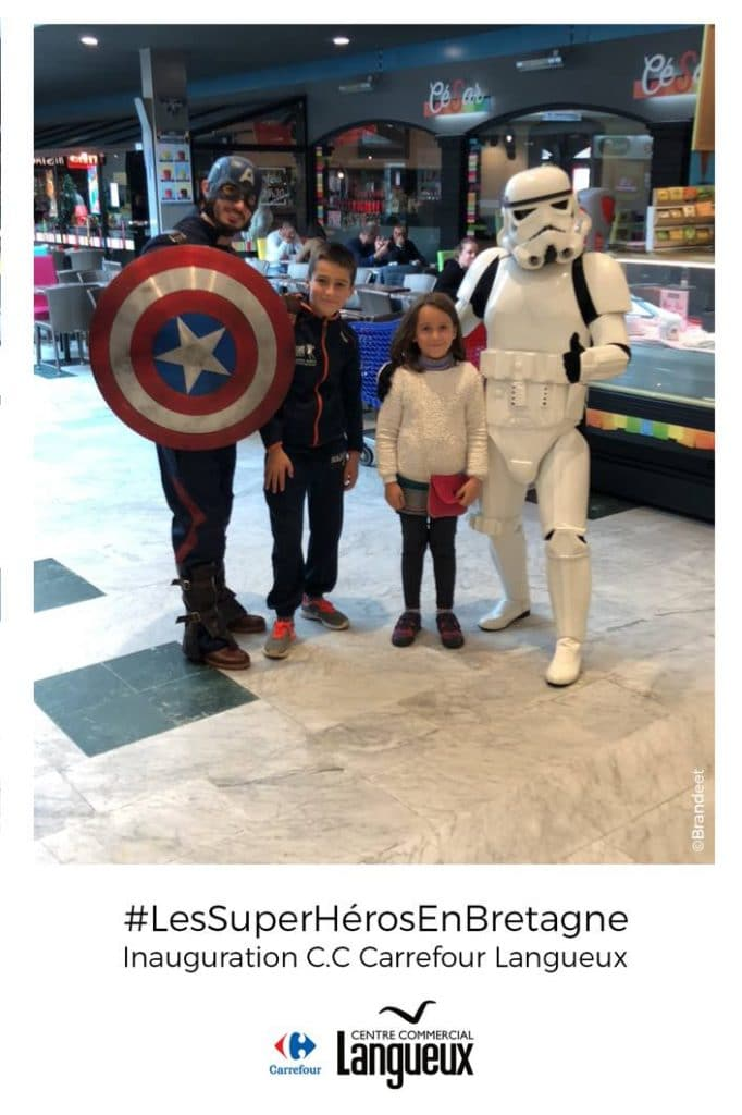 Super héros Captain America et Star Wars pour animation photo selfie