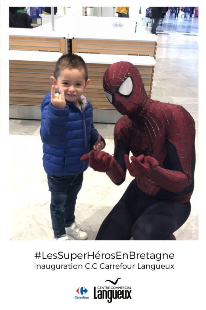 Spiderman pour notre animation photo au Carrefour Langueux en Bretagne !
