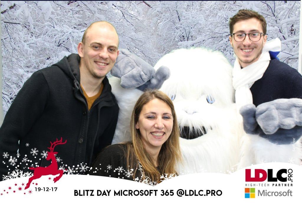 Animation fond vert pour le Blitz Day Microsoft 365 @LDLC.pro à Lyon avec la borne photo selfie de chez Selfizee