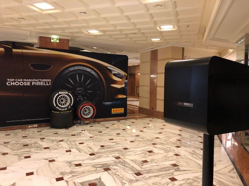 Animation photocall Pirelli et borne photo au Centre Commercial de Fontvieille pour le Grand Prix de Monaco F1