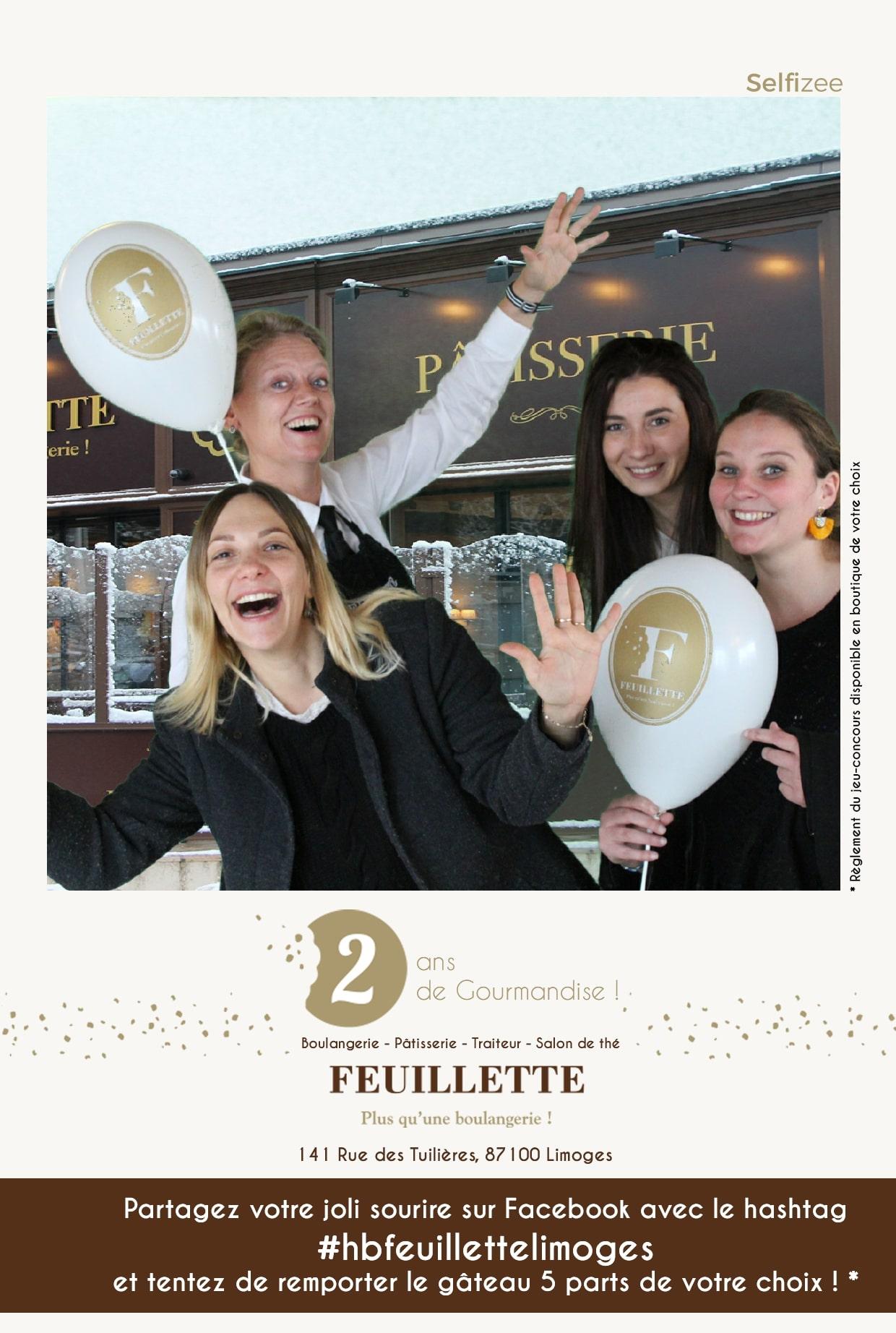 Animation selfie box pour fête anniversaire boulangerie Feuillette Limoges avec jeu concours Facebook avec selfies de la borne photo octobre 2019
