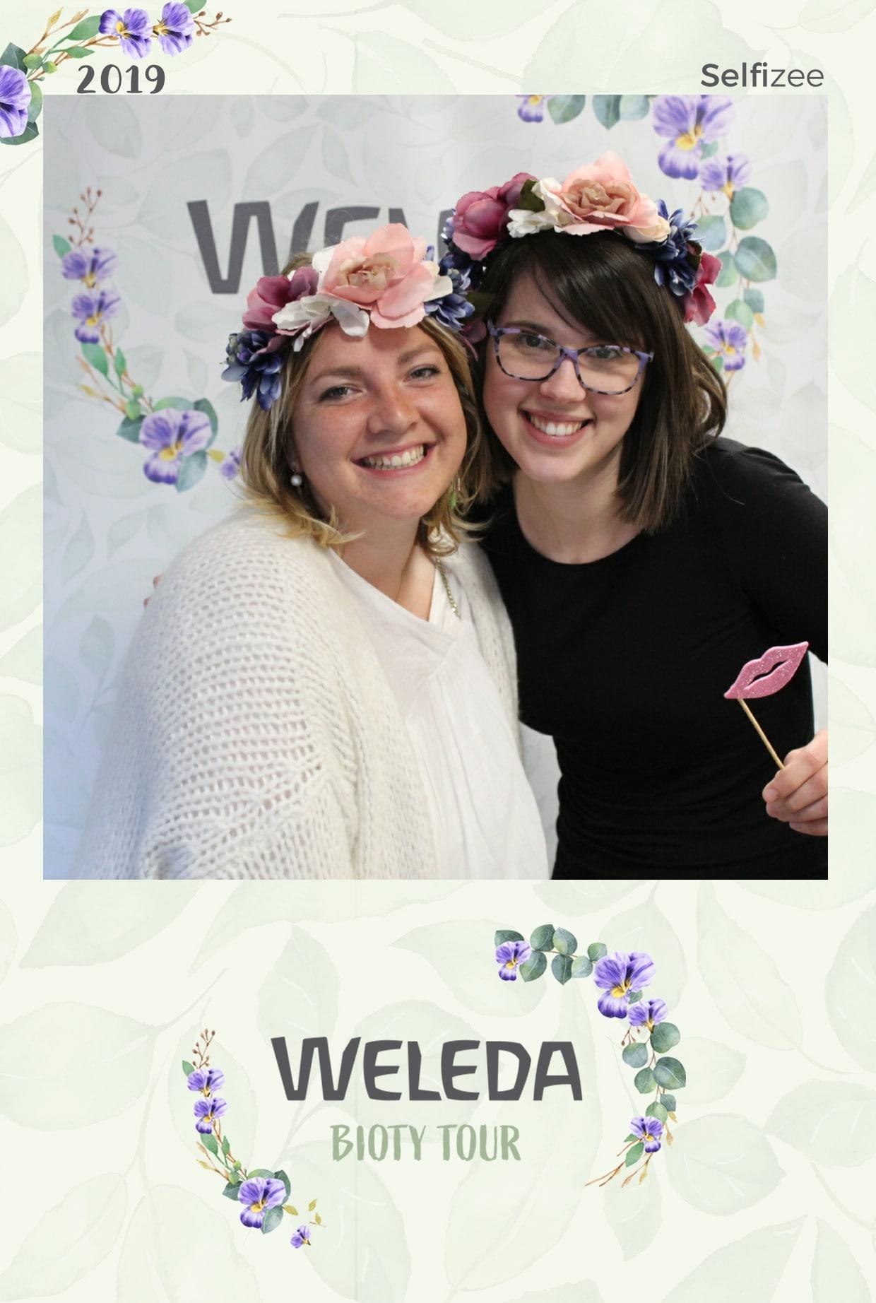 Photo personnalisée Weleda Bioty Tour La Rochelle 2019 - animation borne photo avec imprimante pour selfies visiteurs lancement nouveau produit ou promotion