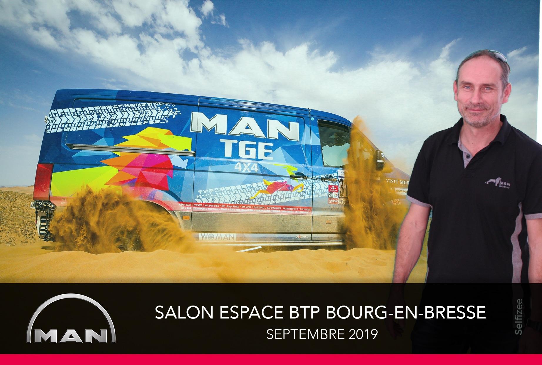 Borne photo et animation fond vert au stand MAN Truck & Bus du salon BTP 2019 Ainterexpo Bourg en Bresse avec impressions selfies des visiteurs