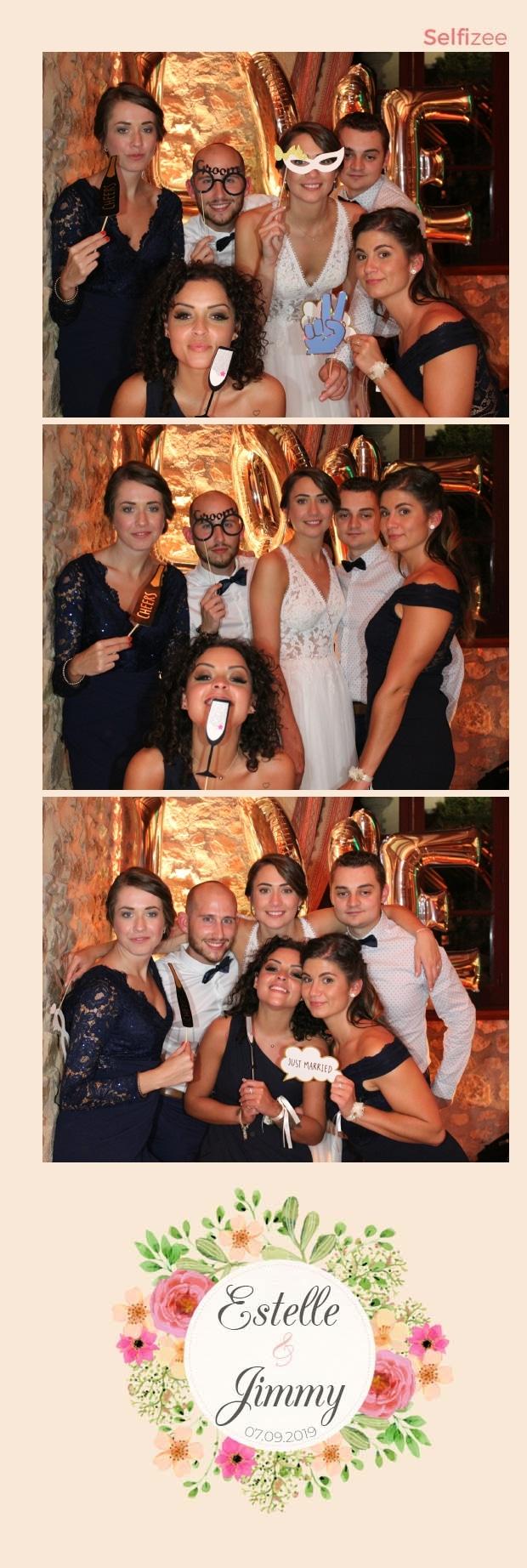 Animation photobooth mariage avec impressions selfies - location borne photo Clermont Ferrand / Puy de Dôme pour animation mariage, anniversaire, baptême, fête, soirée