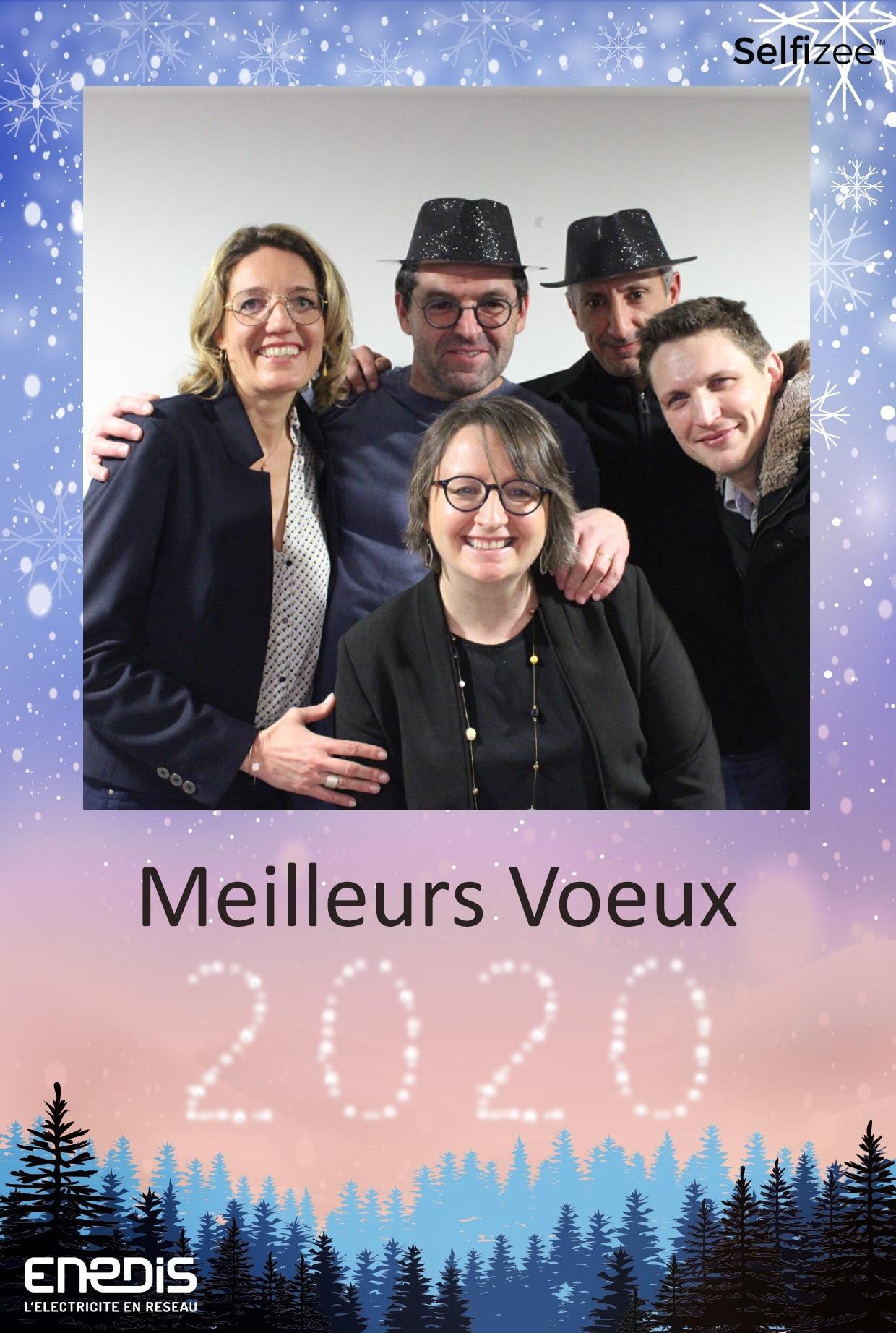 Borne photo connectée animation selfie fête nouvel an voeux 2020 à l'entreprise Enedis Le Havre