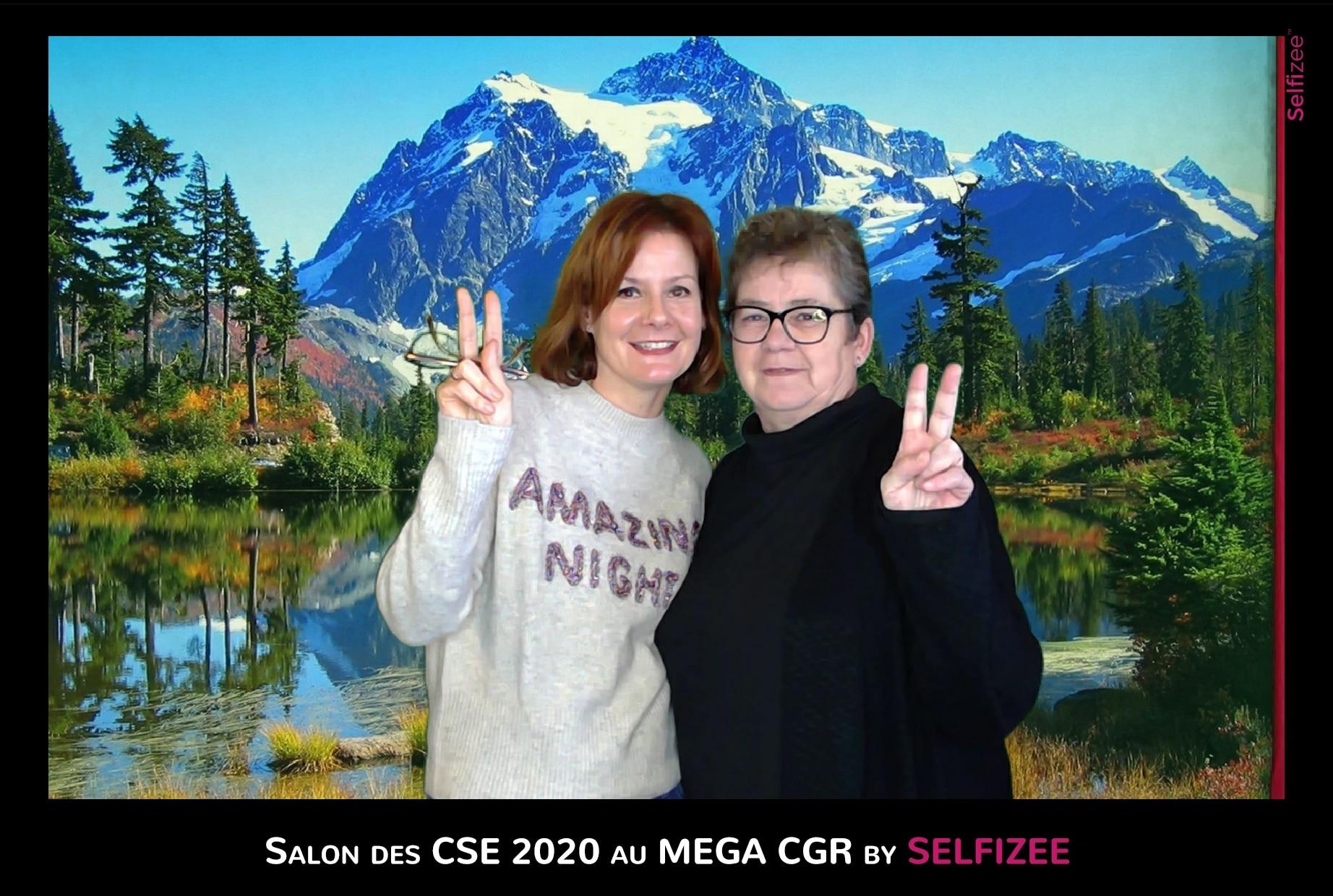 Borne selfie et animation fond vert au salon des CSE Le Mans 2020 au cinéma CGR avec tirages photos
