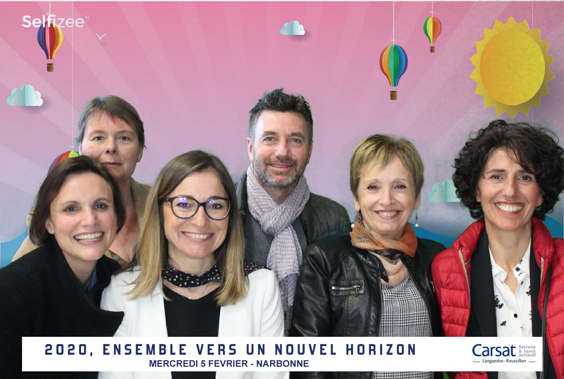 Borne selfie et animation fond vert avec tirages photos à Carsat Narbonne entre Perpignan et Montpellier