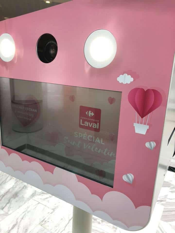 Animation photo selfie box personnalisée Saint Valentin au centre commercial Carrefour Laval février 2020