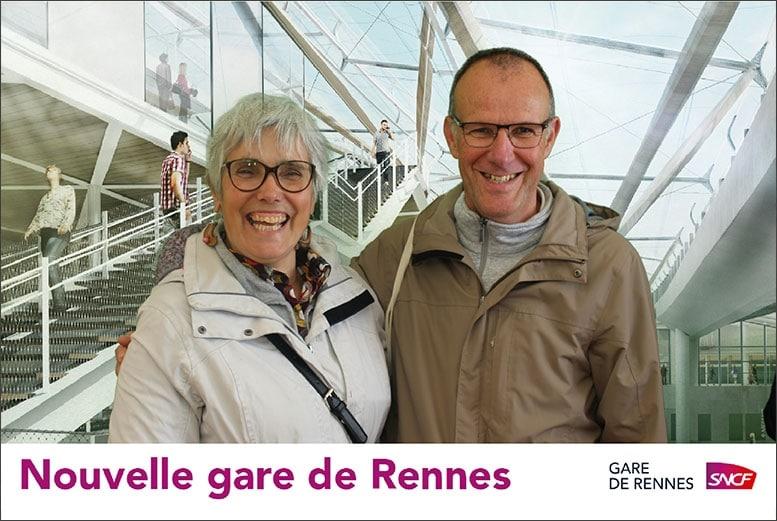 Selfie pour inauguration nouvelle gare SNCF de Rennes imprimé via borne photo
