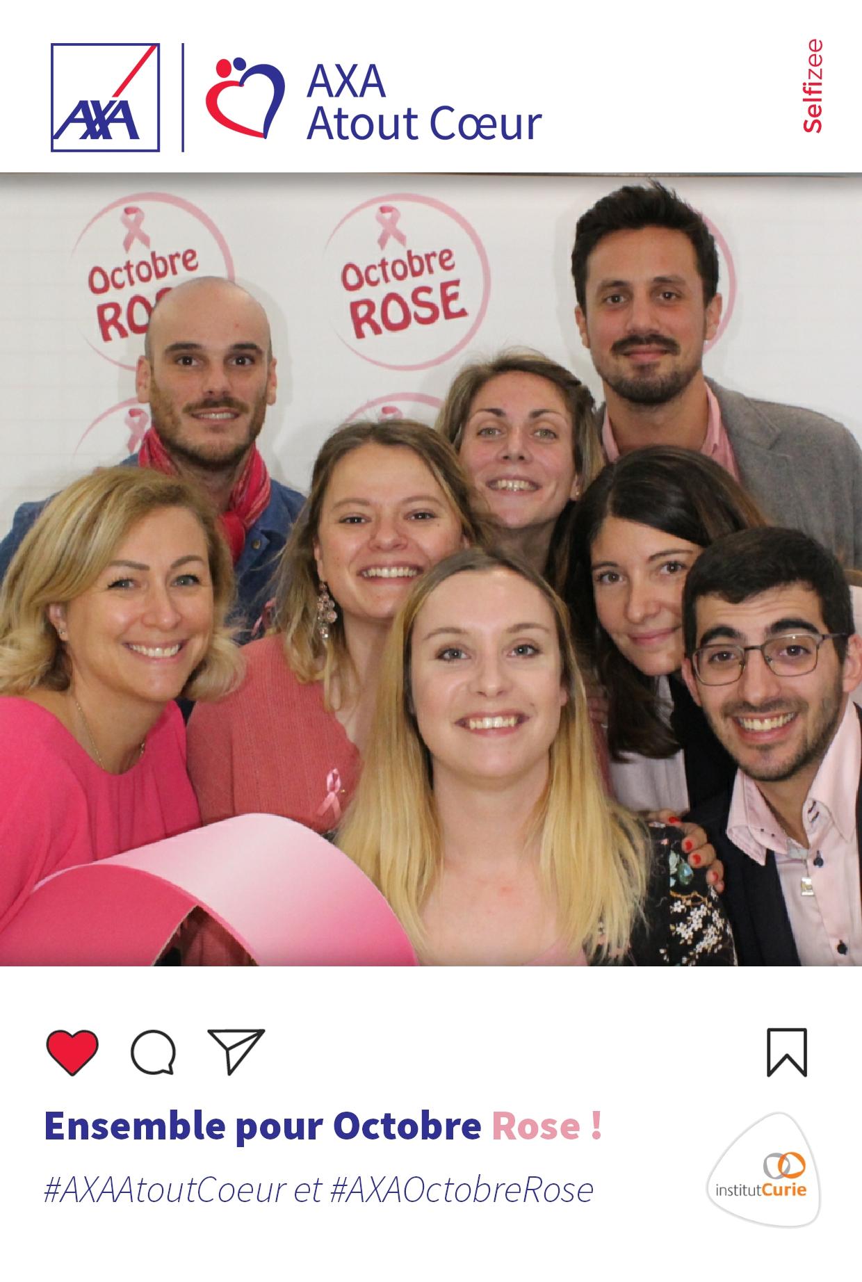 Borne selfie animation photo octobre rose Axa Atout Coeur en 2019 à Marly le Roi près de Versailles dans les Yvelines