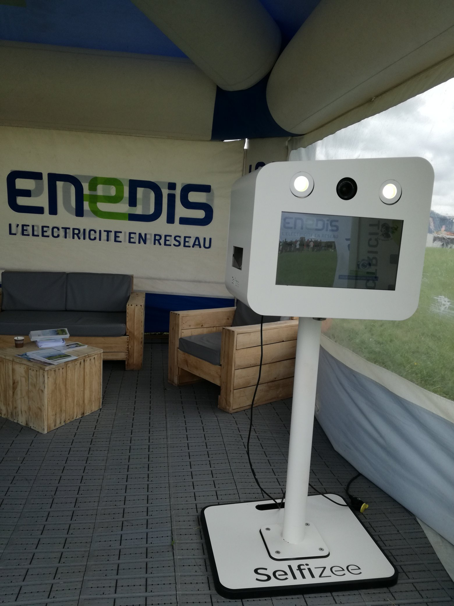 Borne selfie animation photo sur stand Enedis au meeting de l'air 2018 Evreux