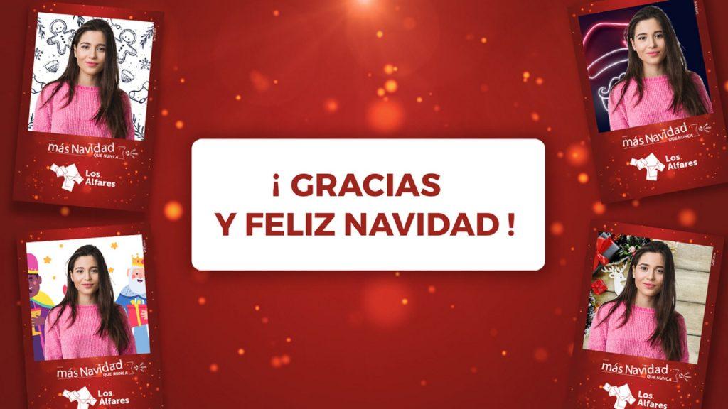 Remerciement borne photo selfie centres commerciaux Espagne, Noël 2020