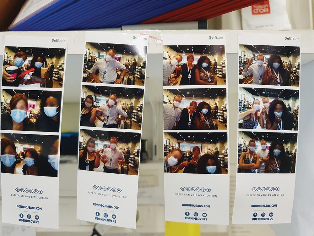 Photos bandelette pour Bonobo imprimées avec la borne photo Spherik de Selfizee