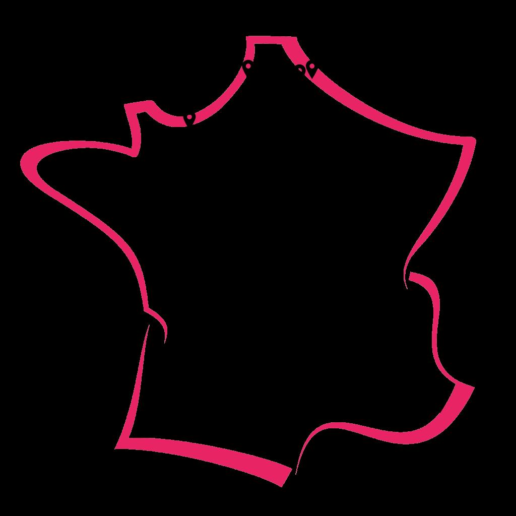 Carte de la France répertoriant les magasins Carrefour pour l'installation de bornes selfies