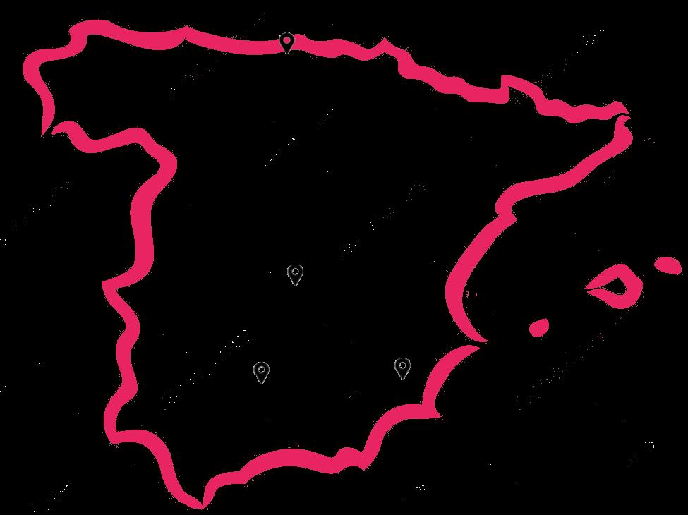 Carte de l'Espagne répertoriant les centres commerciaux Carrefour pour l'installation de bornes photosselfies