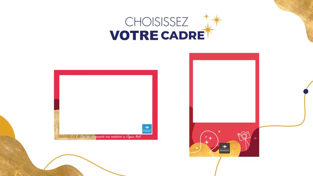 Cadres pour borne photo selfie Carrefour, Noël 2020