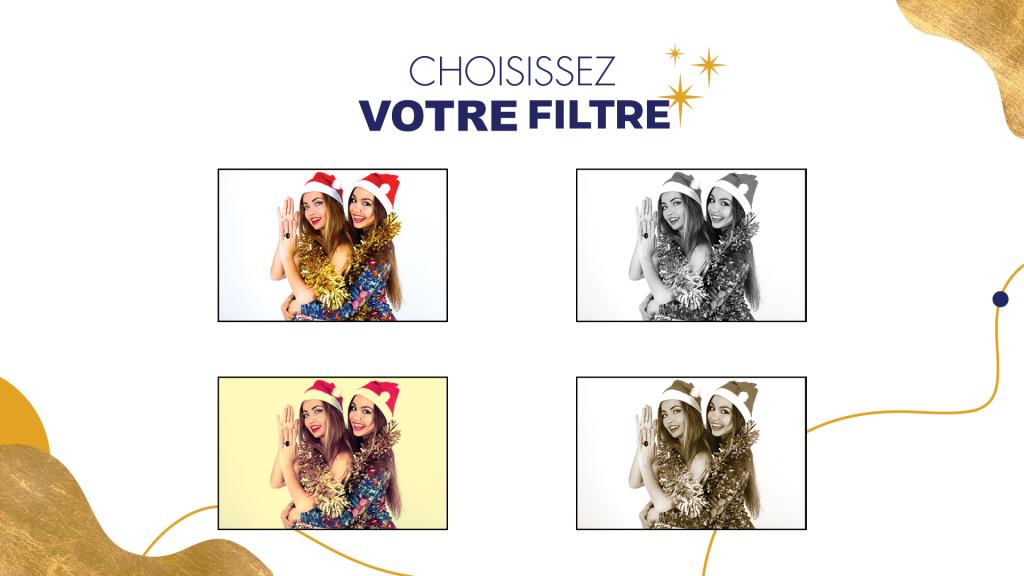 Filtres pour borne photo selfie Carrefour, Noël 2020