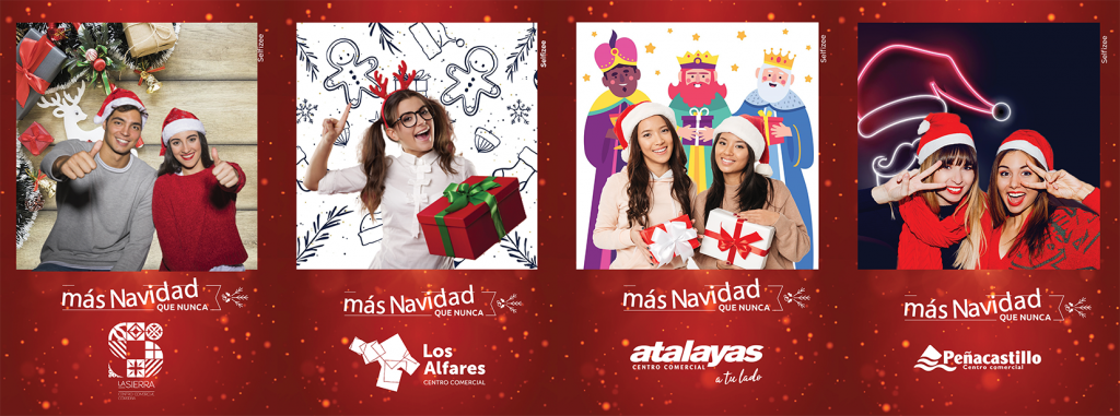 Fonds vert pour borne photo selfie centre commerciaux Espagne, Noël 2020
