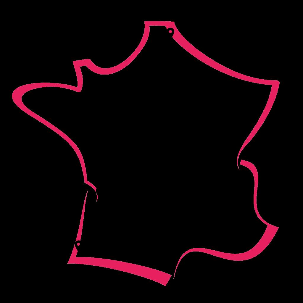 Carte de la France répertoriant les magasins Bonobo d'Or pour l'installation de bornes photos selfie