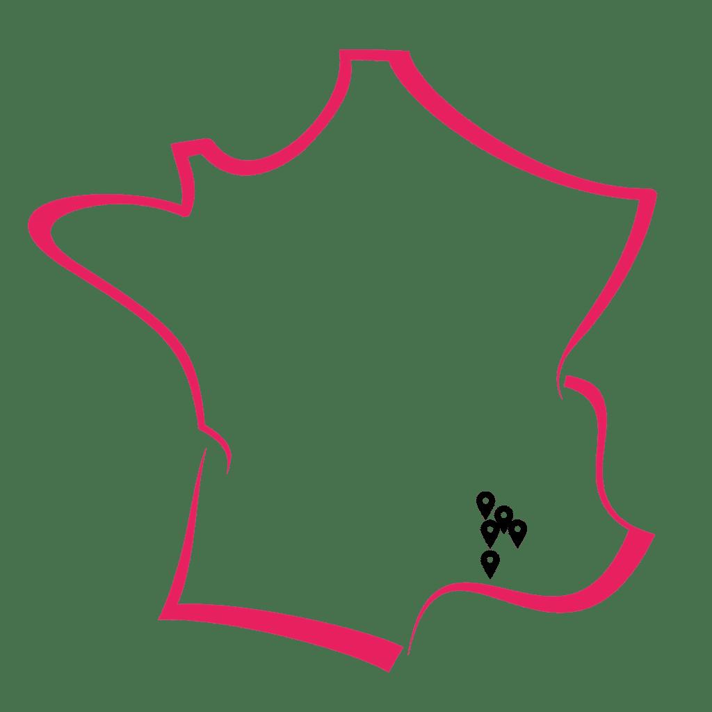 Carte de la France représentant les points de collecte de don du sang