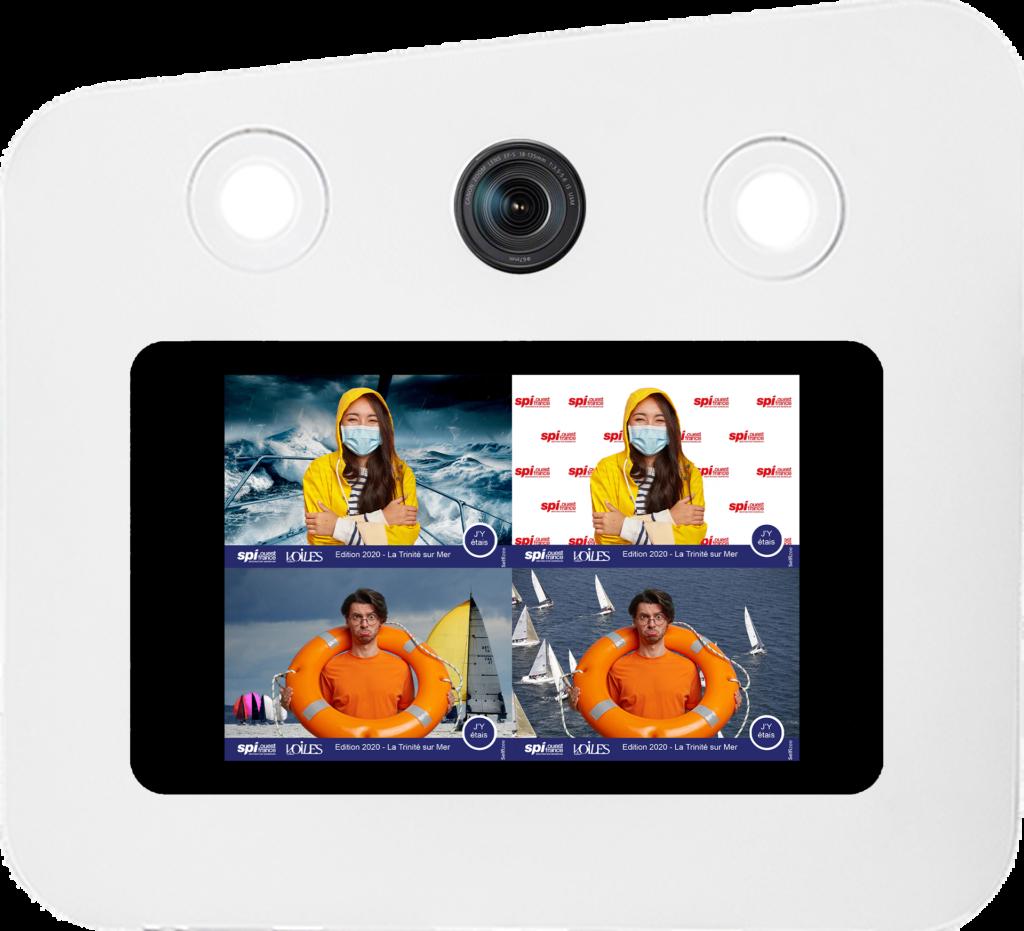 Borne photo selfie Selfizee avec différents fonds vert pour la course de bateau à voile SPI Ouest-France en Bretagne